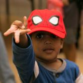 Young boy as spider-man